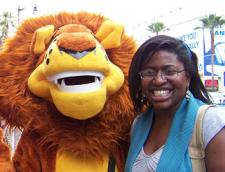Wadzi and lion mascot