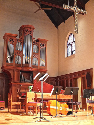 Chapel stage with instruments